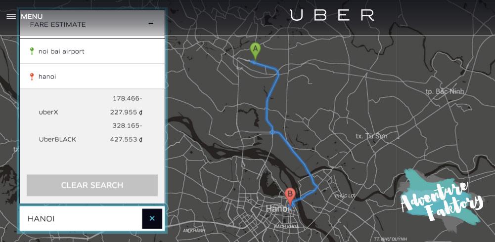 Hanoi Airport by Uber