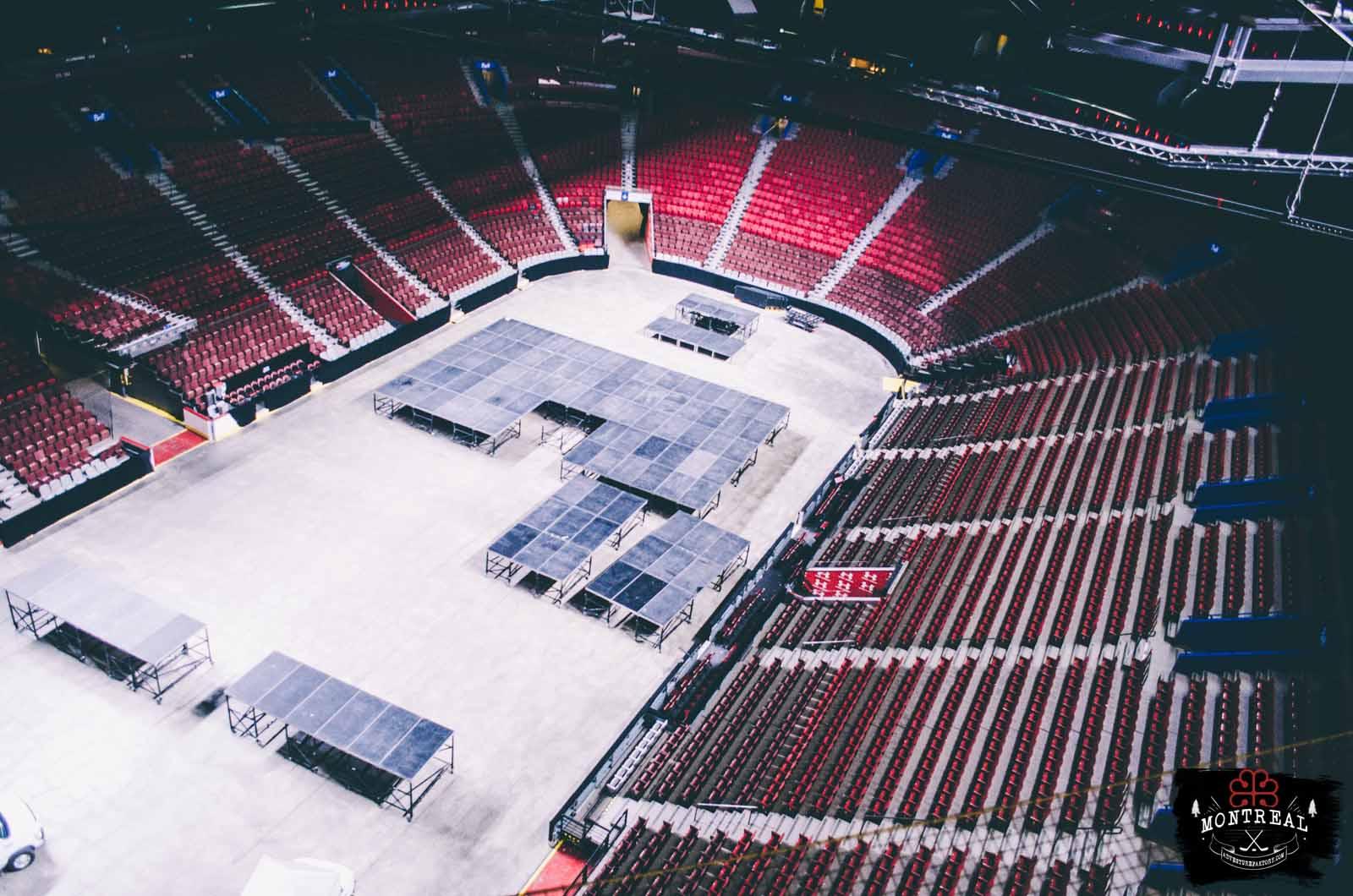 View of the ice from the Media suspended floor. During the summer, the ice isn't done and used for concerts.