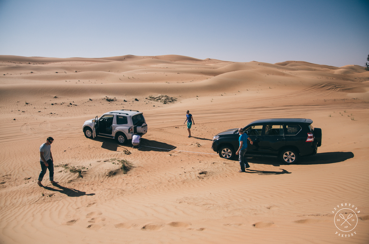 Rule of dune bashing, never go alone, we got out successfully.