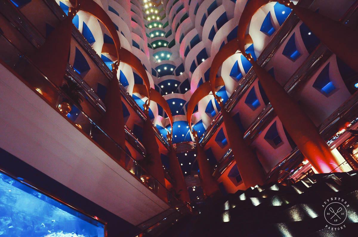 Beautiful night view from inside the Burj Al Arab.
